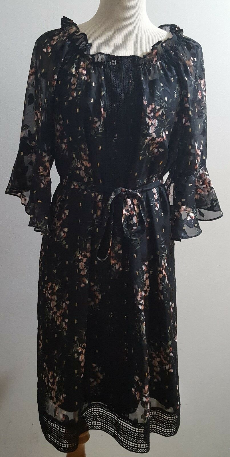 Taylor Dress Created For Macy's Size 16 Belted Floral-Print Bell-Sleeve  118 NWT