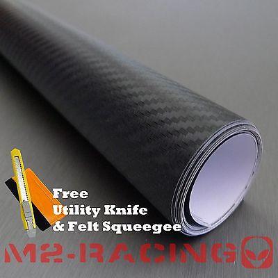 "*24""x60"" 3D BLACK Carbon Fiber Texture Vinyl Wrap Sticker Decal Film Sheet"