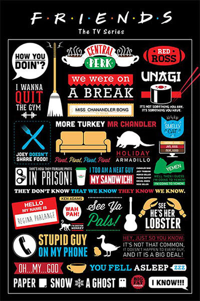 Friends TV Series Infographic POSTER 61x91cm NEW * Central Perk Show Quotes