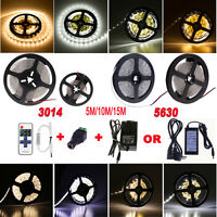 Dimmable 5M 3014 5630 Warm Cool White 300/600 LED Strip Light+RF Remote+12VPower