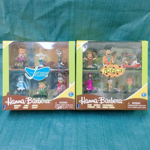 "The Flintstones /& Jetsons Hanna Barbera 2/"" Lot of 2 Box Set 6 Figures Xmas Gift"