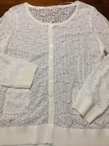 cb19897c26 NEW Women s Lace Cardigan Sweater Size XL Madison Button Up Ivory ...