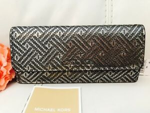 65676081cb53 Image is loading NWT-MICHAEL-KORS-MONEY-PIECES-METALLIC-SILVER-LEATHER-