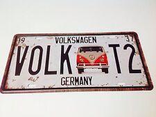 VOLKSWAGEN CAMPER VAN T2 LICENCE PLATE/Beatle Wall Decor Vintage Sign Tin Plaque