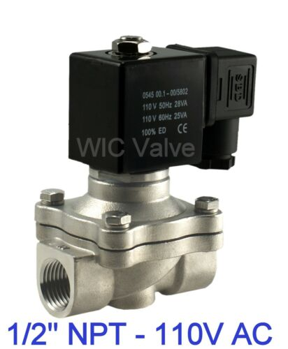 Stainless Electric Zero Differential Solenoid Valve 1/2 Inch 110V AC Viton Seal