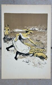"""Lithographie originale """" La Bergère """" de Jean Veber - 1898"""