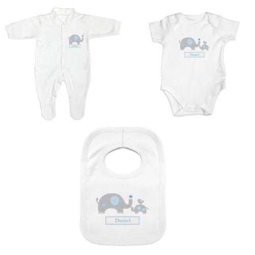 Personalised Blue Baby Boy Elephant Clothing New Baby Birth Gift Bib Babygrow