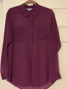 Cabi-Women-039-s-L-Blouse-Sheer-Button-Front-Top-Purple-Long-Sleeve