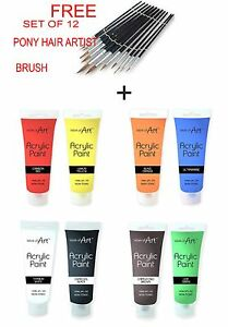 8-x-120ml-tubes-de-peinture-acrylique-peintures-couleurs-brillantes-libre-12-Pinceau-Set
