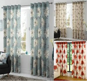 Image Is Loading Annabella Lined Eyelet Curtains Ready Made Ringtop Floral