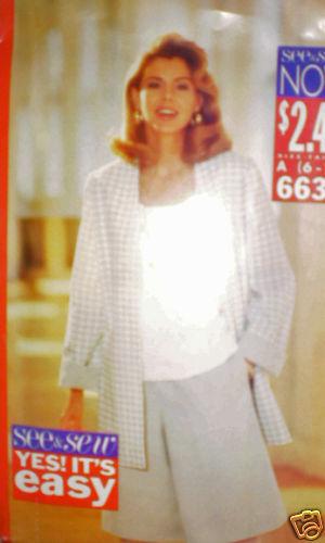 Vintage Butterick Pattern Jacket Shorts Top 6630 6 8 10