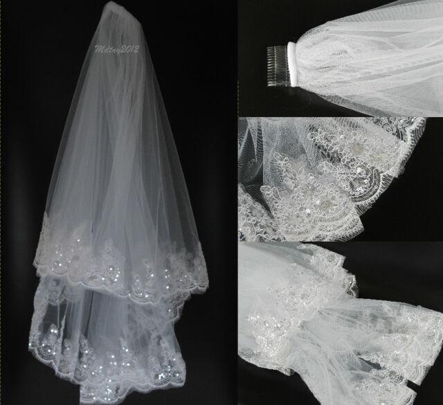 2T Elbow Bugle Beads  Wedding Bridal Veil Crystal Drop Scallop Edge White Ivory