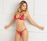 Red All Over Lace Wire Free See-though Set Bra & G-string Thong. Stripper. Hq