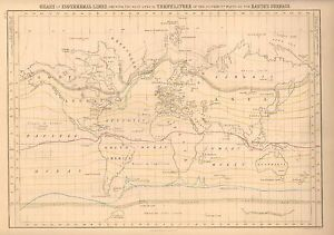 1850 Antique Map World A Chart Of Isothermal Lines Ebay