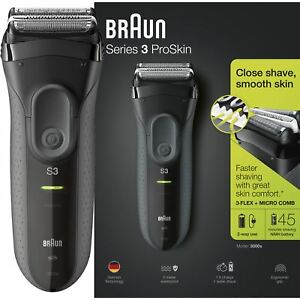 Braun-Series-3-ProSkin-3000s-Men-Electric-Rechargeable-Shaver-Smooth-Razor-Black