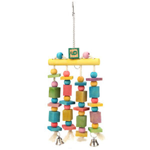 Parrot-Pet-Bird-Macaw-Colorful-Hanging-Chew-Toy-Bells-Wood-Blocks-Swing-Play-Toy