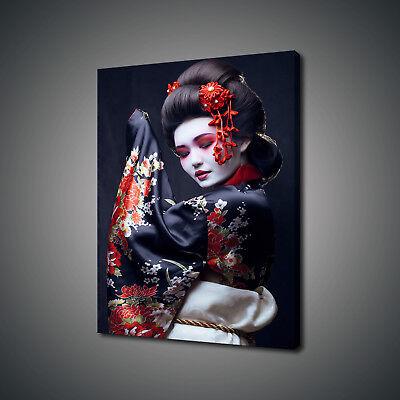 BEAUTIFUL JAPANESE GEISHA IN KIMONO CANVAS PRINT WALL ART PICTURE PHOTO