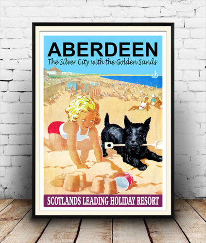 reproduction Wall art reworked Aberdeen : Vintage Seaside Travel Poster