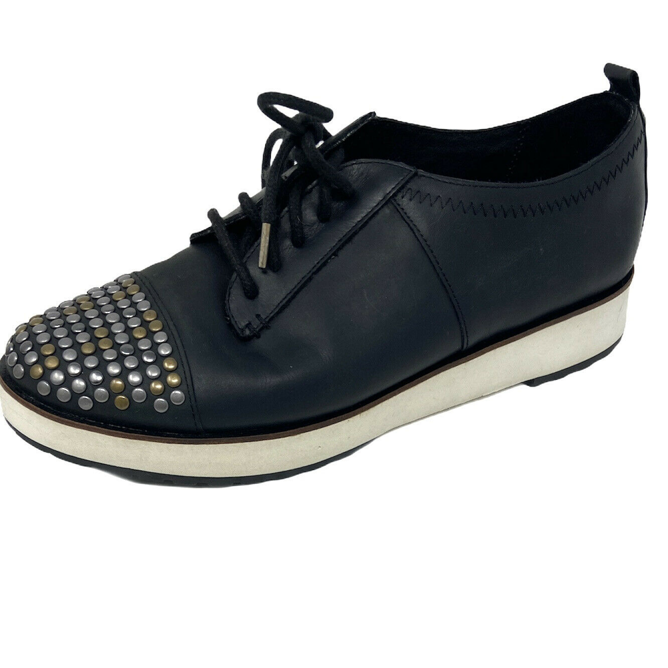Women's Diesel Studded Toes Black Leather Shoes Size 7.5