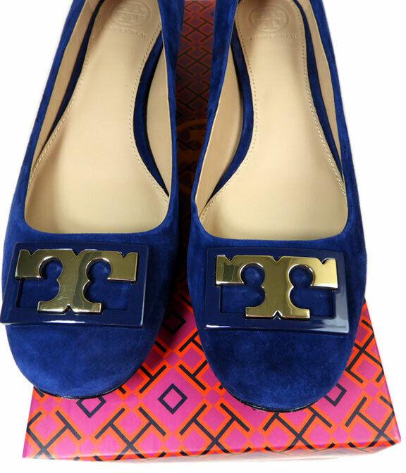Tory Burch  ' Gigi ' oro Logo Low Heel Pump blu Sude scarpe 8 oro Logo  comprare a buon mercato
