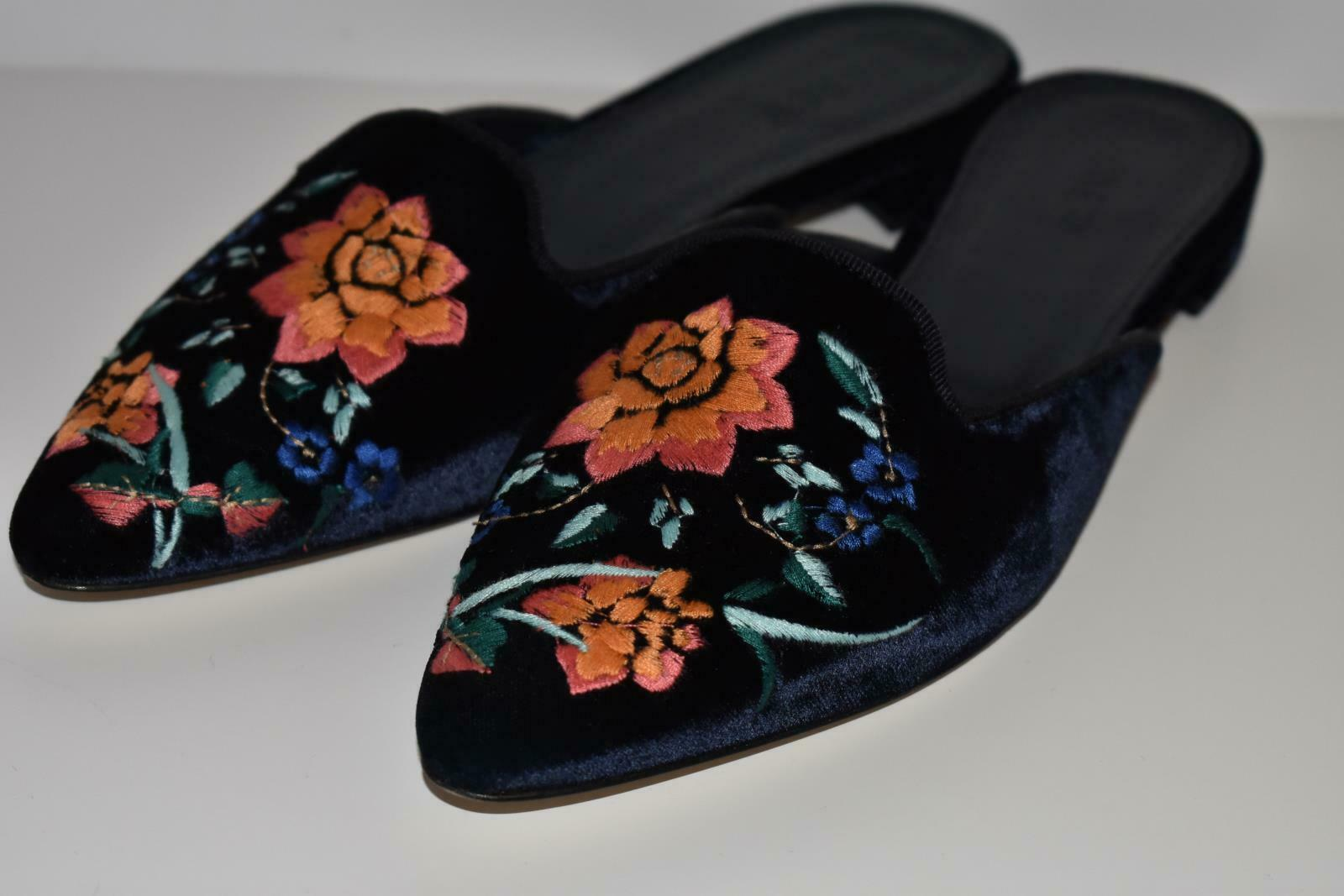 JCrew Embroidered Smoking Slipper Mules Sz 8 Dark Pacific blueee shoes H1845 AVL