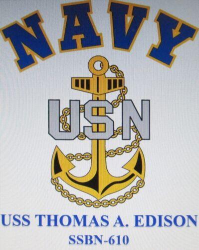USS THOMAS JEFFERSON   SSBN-618 SUBMARINE  NAVY W// ANCHOR* SHIRT