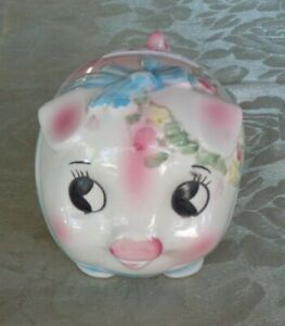 Cute-Vintage-Kitsch-Hand-Painted-Ceramic-Wide-Eyed-Pink-amp-Blue-Pig-Money-Box