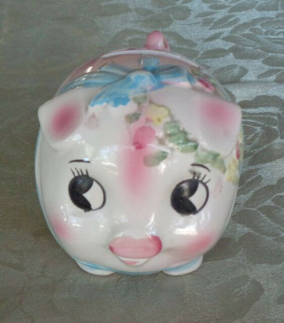 Cute Vintage Kitsch Hand Painted Ceramic Wide Eyed Pink & Blue Pig Money Box