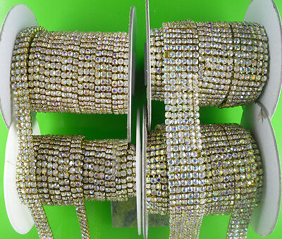 ss16 clear AB glass crystal 4mm rhinestones compact close gold cup claw chain