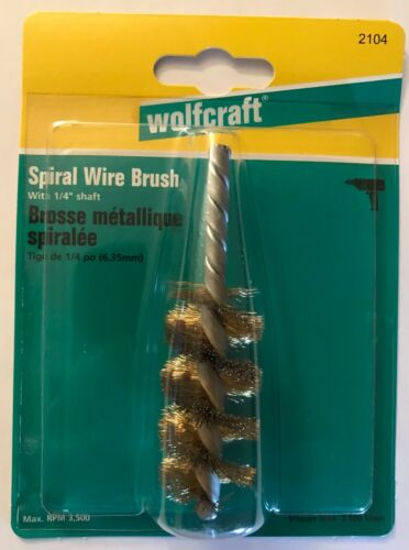 """NEW WOLFCRAFT SPIRAL WIRE BRUSH 1//4/"""" SHAFT 2104 MADE IN GERMANY"""