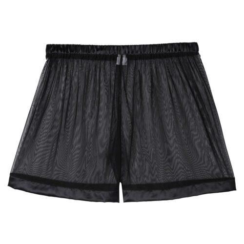 US Mens See-through Sheer Mesh Shorts Loose Lounge Boxer Briefs Underwear Trunks