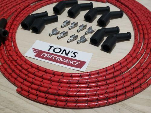 Vintage Cloth Braided Spark Plug Wires LSX LS1 LS SWAP Unassembled Red Black