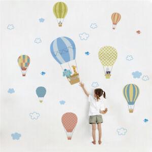 Kids-Room-Decor-Wall-Sticker-Hot-Air-Balloon-Nursery-Room-Decal-Clouds-Cartoon