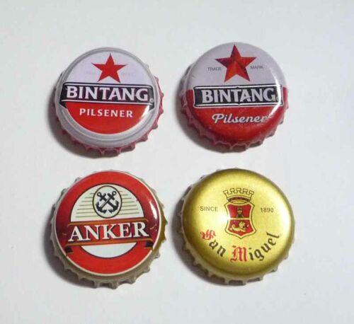 4pc Lot Metal BEER Bottle Cap Crown INDONESIA Asia Bintang Anker San Miguel