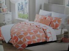 New Max Studio Home King Duvet Cover & Shams Set ~ Coral and White NIP