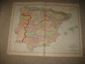 HUGE SUPERB FOLIO SIZE ANTIQUE SPAIN PORTUGAL MAP BARCELONA - Portugal map size