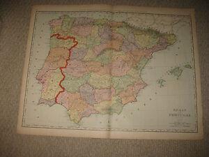HUGE SUPERB FOLIO SIZE ANTIQUE SPAIN PORTUGAL MAP BARCELONA - Portugal map size