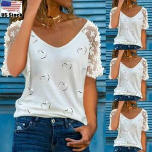 Women's Lace Short Sleeve Tops Blouse Ladies Casual Heart V Neck Tee T-Shirt Top