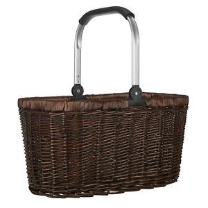 anndora Einkaufskorb Weidenkorb Picknickkorb Alurahmen klappbar 22 L dunkelbraun