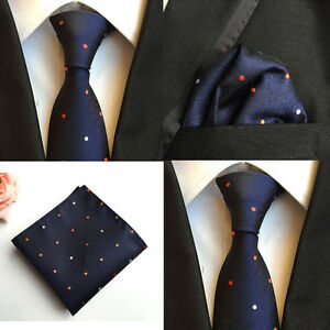 Men-Orange-White-Polka-Dots-Navy-Blue-Silk-Tie-Hanky-Pocket-Square-Set-Lot-HZ110