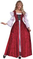 Ladies Long Red Medieval Banquet Peasant Wench Fancy Dress Costume Outfit 10-14