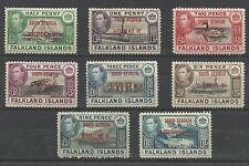 Falklands 1944 Full Set of South Georgia Dep overprints, Sg B1-B8, M/M [161]