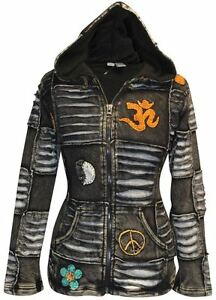 Details about Women Black Fleece Lined Om Ribbed Gothic Jacket Ladies Festival Hippie Hoodies