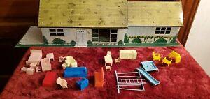 VINTAGE MARX TIN RANCH STYLE DOLLHOUSE w/ furniture