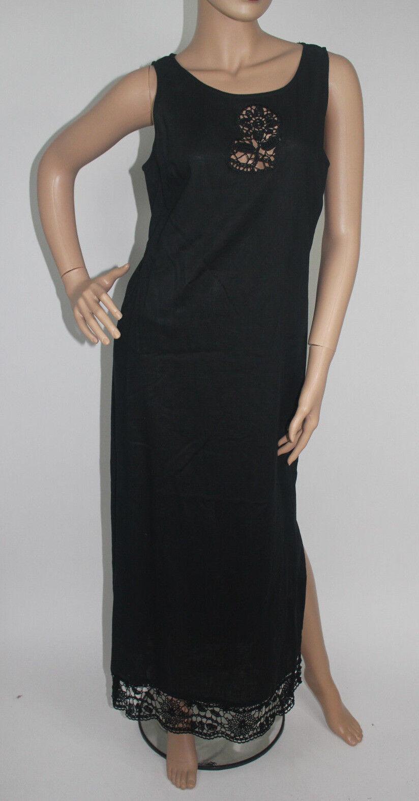 STUDIO I   Dress Women Black FULL Length 100% Linen Size 8