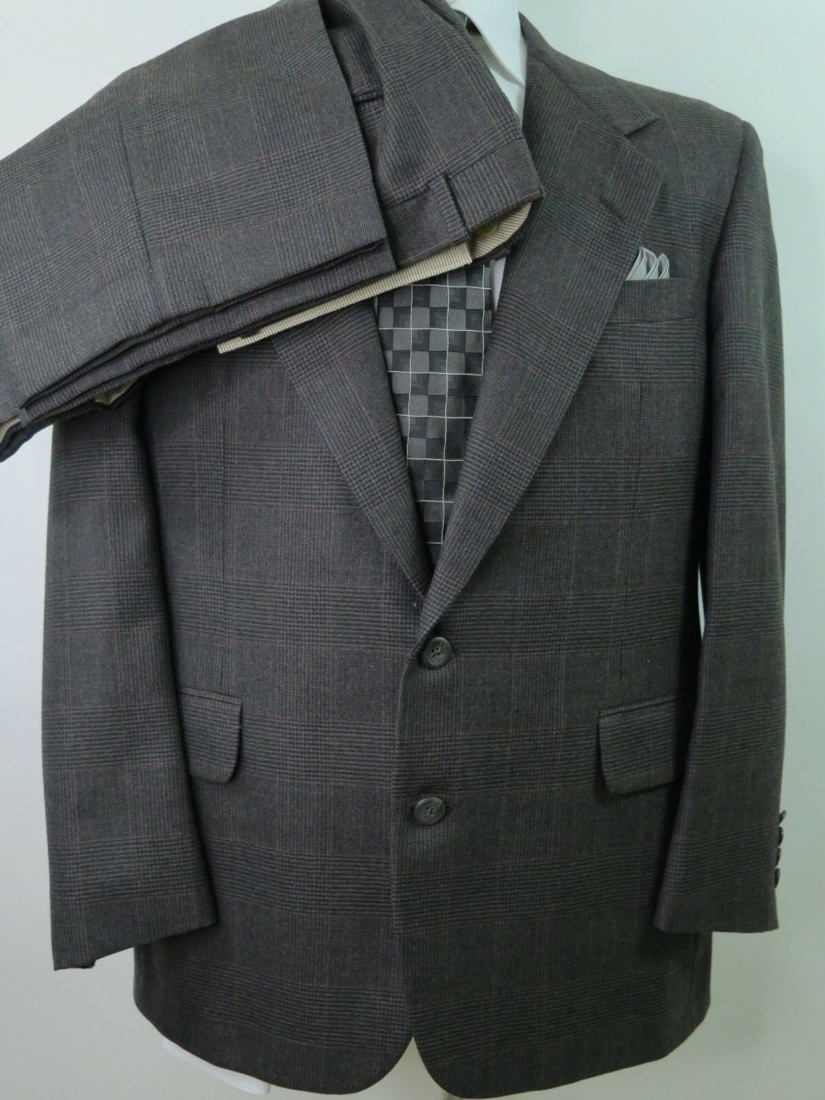 H.Freeman &Son Nordstrom Wool Glen Plaid Windowpane  Herren Suit 40 S 34x26 USA EUC