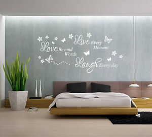 live laugh love quote butterfly wall art sticker uk sh134 ebay