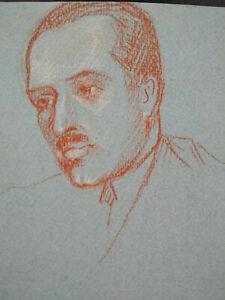 Beau portrait homme sanguine & craie 1920 - 1930 Art Déco étude visage esquisse
