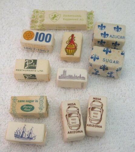 11 Vintage Kitch Sugar Cubes Advertising Packets Feed Bag Wine Bottle London T8