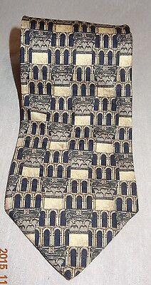 """Structure Tie 100% Silk Made USA Gray Tan Column Architecture Necktie Men's 57"""""""